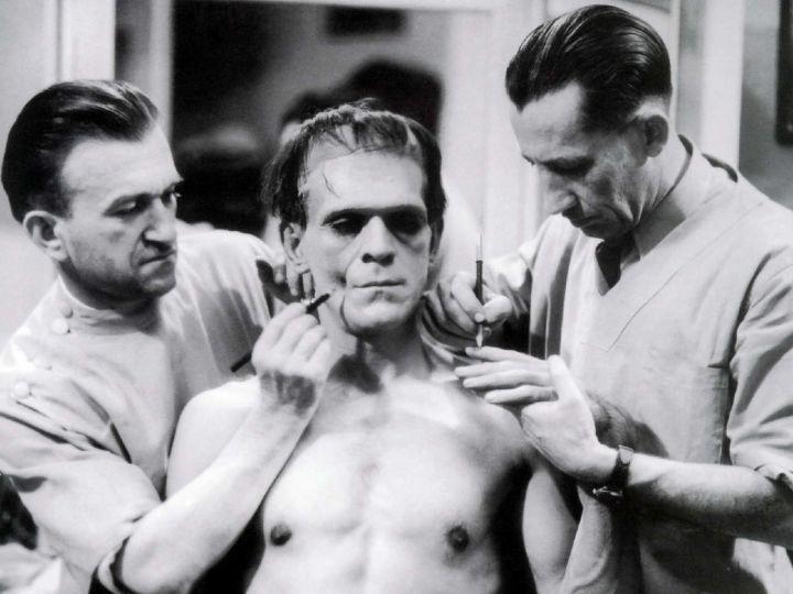 #BorisCarloff - #JackPierce and assistant build the makeup for Boris Karloff as #Frankenstein&#39;s #Monster. <br>http://pic.twitter.com/PaXQPzrT2C