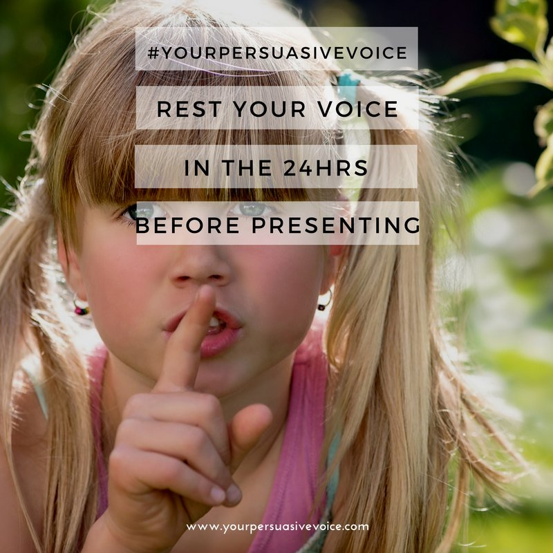 Make sure to rest your voice as much as possible 24hrs before you speak! #SpeakingTips #YourPersuasiveVoice  http:// dlvr.it/PwH6PW  &nbsp;  <br>http://pic.twitter.com/mFQ8q3Rymx