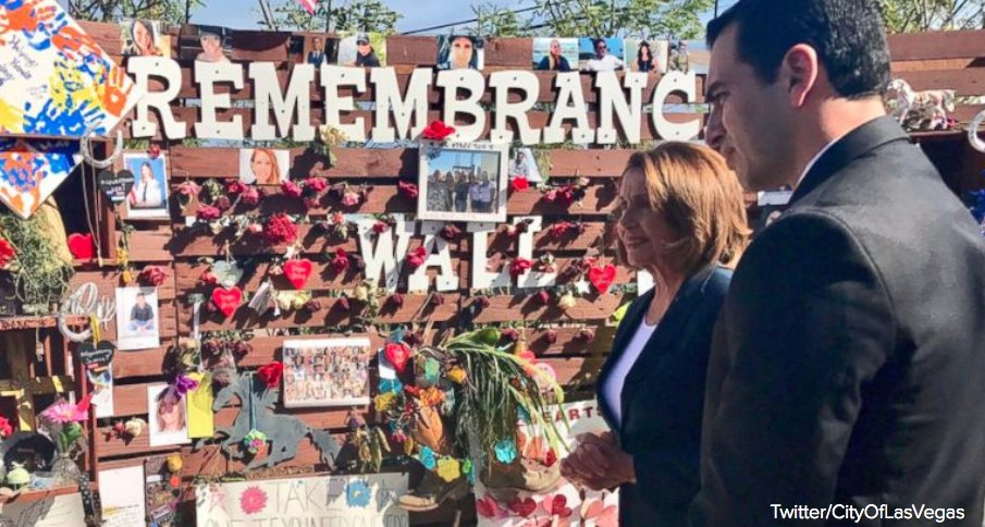 Nancy Pelosi visits memorial for Las Vegas shooting victims. 'You will always be in our hearts.' https://t.co/WazsEHdKNk