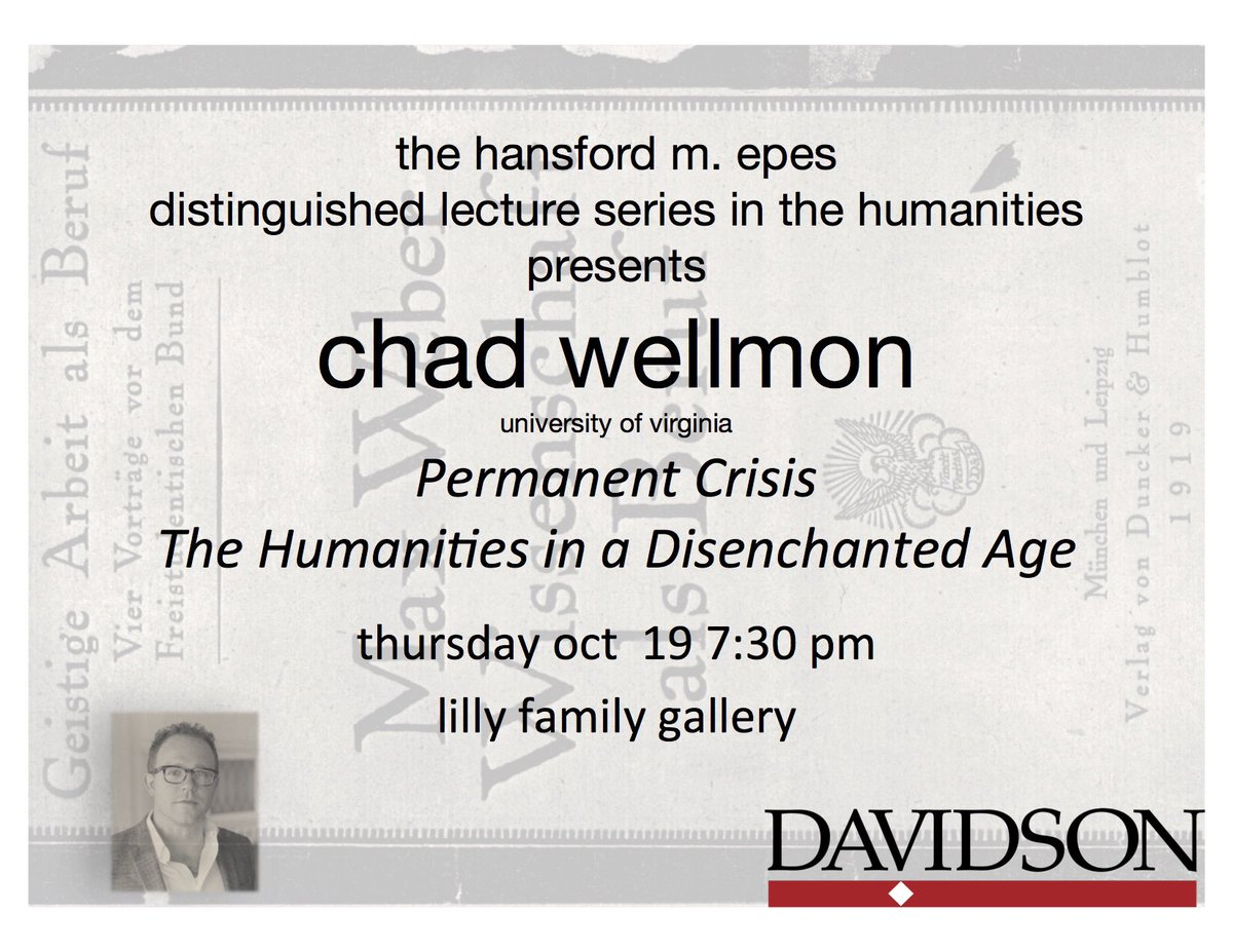 We're excited about @cwellmon '99 coming back to @DavidsonCollege on Thursday to talk about #Humanities <br>http://pic.twitter.com/75gBALTHtx