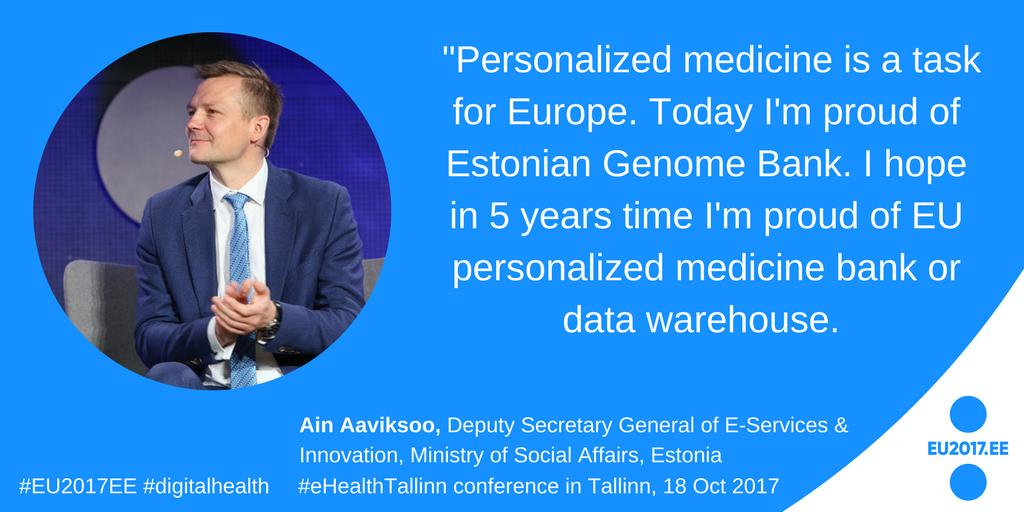 Personalized medicine is a task for Europe, said @ainaaviksoo of at #eHealthTallinn #digitalhealth #EU2017EE <br>http://pic.twitter.com/0xQIQqI8Yd