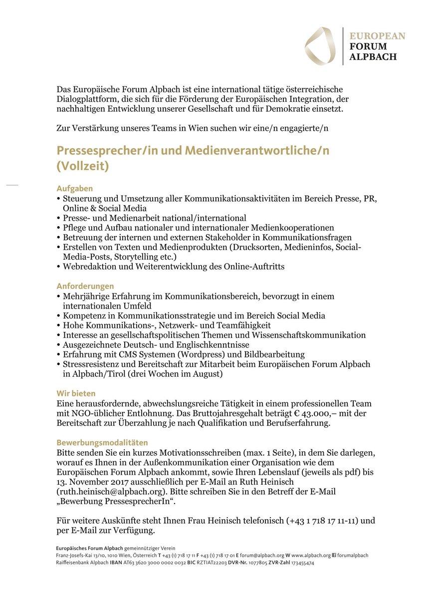 """Stefan Kranewitter on Twitter: """"Mein Platz wird frei. Nach 4 Jahren im  weltbesten @forumalpbach Team wechsle ich zum @FWF_at. Wer möchte  übernehmen?"""