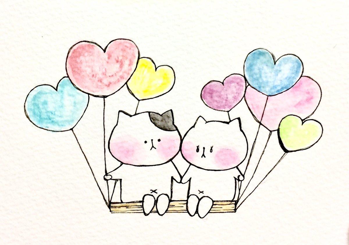 おこにゃん On Twitter 風船の旅 風船 旅 ふわふわ ラブラブ 猫
