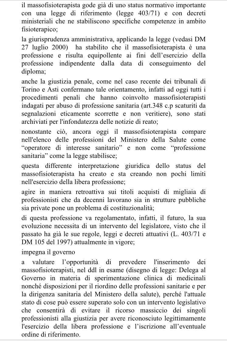 Oggi alla Camera è stato approvato il mio ODG che impegna il Governo a prevedere l'opportunità di inserimento dei #massiofisioterapisti https://t.co/Go9KOdXRRS
