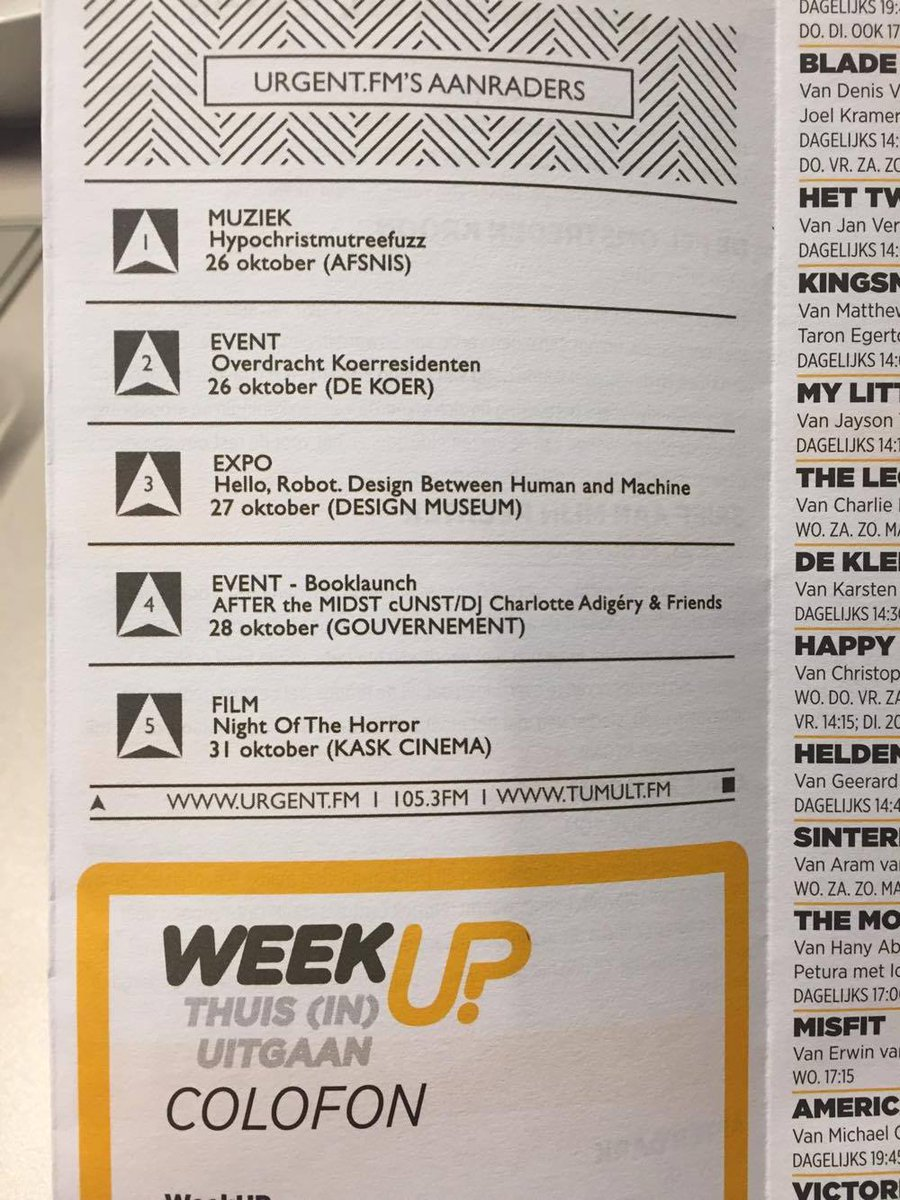 Tumult tips in WeekUp Magazine: @HypoFuzzMusic in @AfsnisCafe, Hello Robot @DesignmuseumBE #gouvernement #horror @KASKcinema #gent #mustsee<br>http://pic.twitter.com/14jlMd76vE