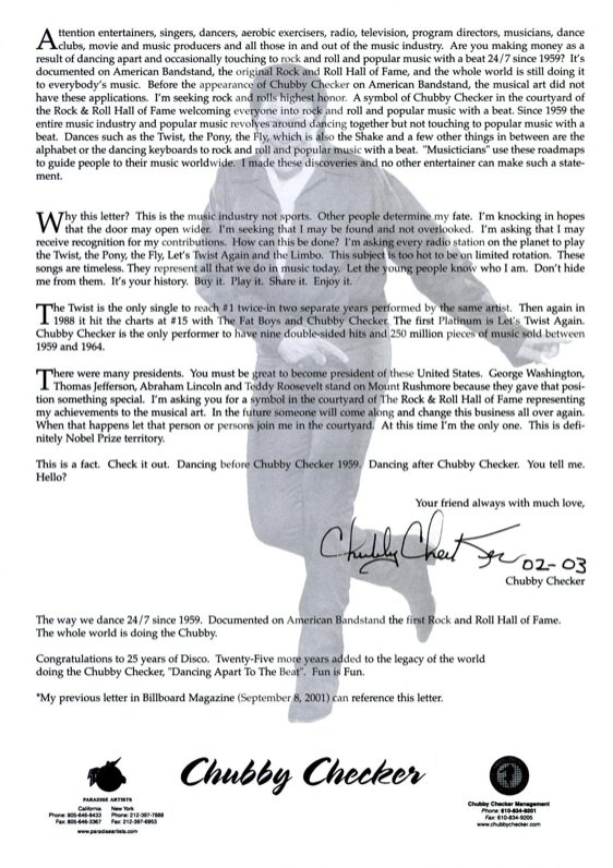 letters of note on twitter chubby checker had this letter