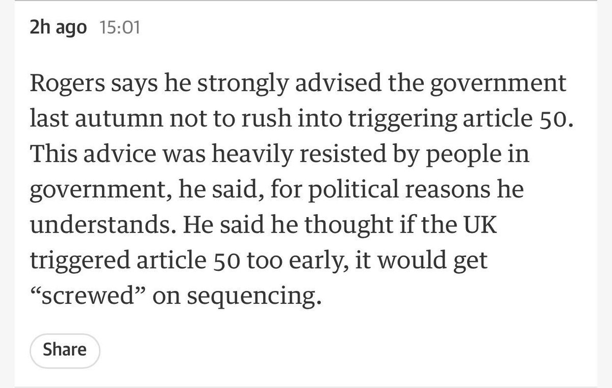 May can't say wasn't warned crazy to trigger Article 50 without plan. Ivan Rogers then ambassador told her