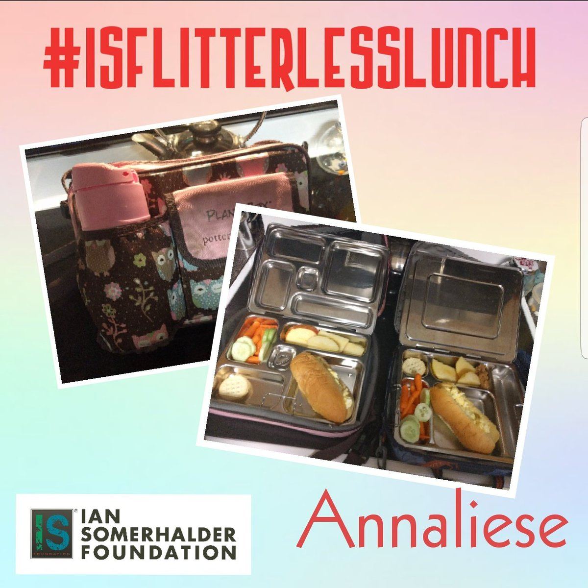 ISF YOUTH VOLUNTEER ANNALIESE ! THANKS FOR SHARING YOUR PICS AND TIPS FOR AN #ISFLITTERLESSLUNCH  #ISFYOUTH #BUYINBULK #SAVETHEPLANET #IANSOMERHALDERFOUNDATION.<br>http://pic.twitter.com/pVvxDHwm9X