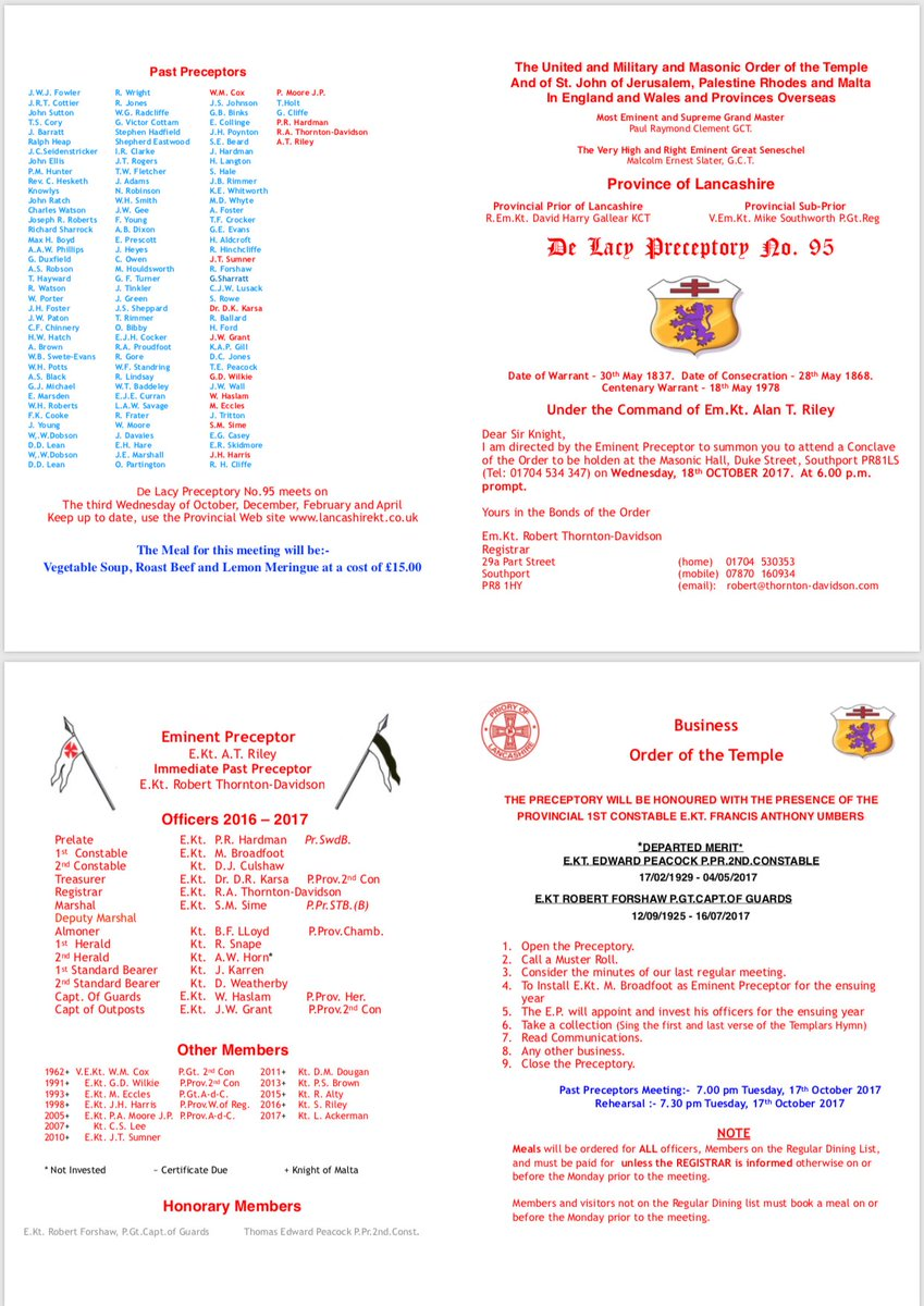 De Lacy Preceptory No95 meeting tonight in #Southport <br>http://pic.twitter.com/VgtlHwaKrN