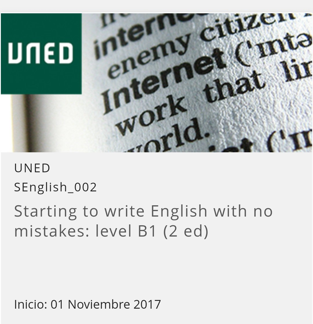 &quot;Starting to write #English with no mistakes: level B1&quot; #free #online course via @UNEDAbierta  https:// goo.gl/Tgx99N  &nbsp;   #MOOC #LearningEnglish<br>http://pic.twitter.com/Pz0i8uvlKz