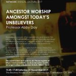 Nice lecture topic, if you happen to be in Canterbury on Nov 25: Ancestor Worship amongst Today's Unbelievers https://t.co/bsjjq2YLOg