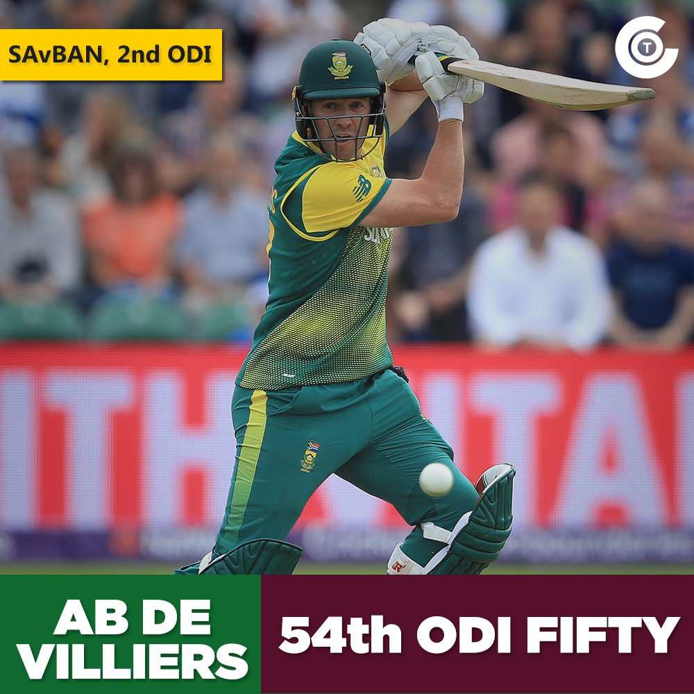 A 34-ball fifty from AB de Villiers. SA - 175/2 (29) #SAvBAN https://t...