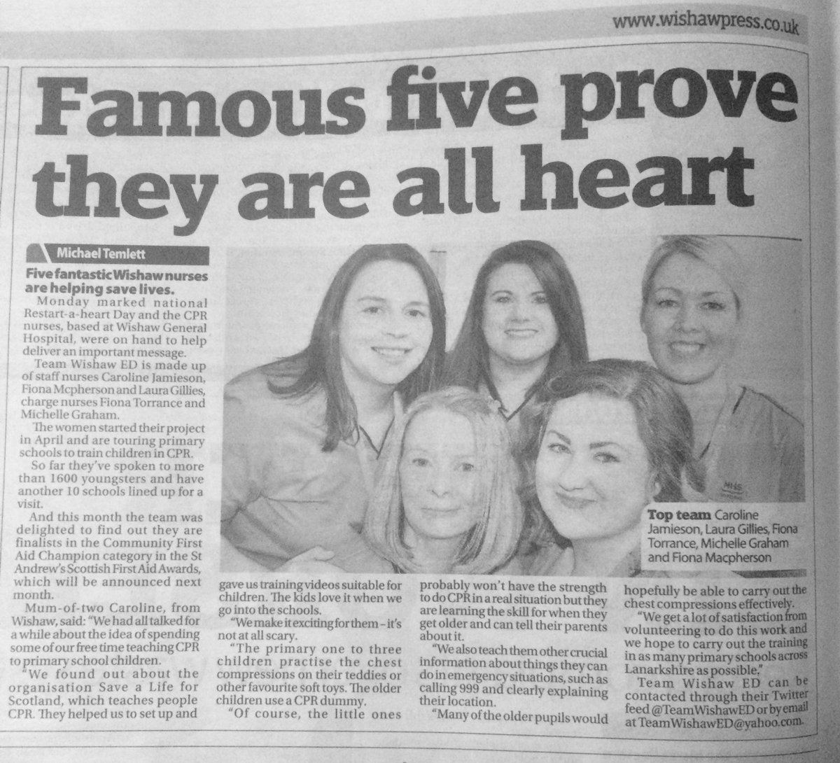 The @WishawPress have written a lovely article about @TeamWishawED this week!  @SaveALifeScot #CPR #Lifesaving #illdoit #ED #CCU<br>http://pic.twitter.com/qt3jzssTOO