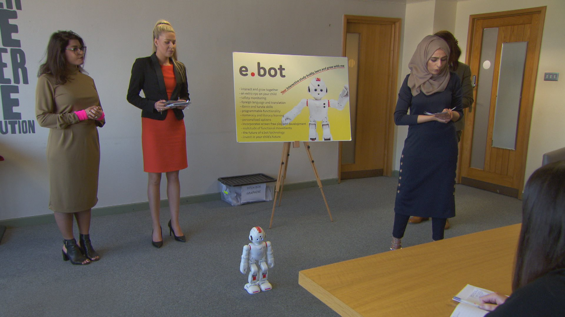 The girls are about to demonstrate the dancing skills of the robot on The Apprentice tonight at 9pm BBC1. https://t.co/LlI02xuewr