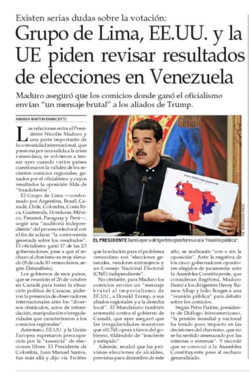#18Oct EL MERCURIO | CHILE | Grupo de Lima, EEUU, UE, piden revisar el...