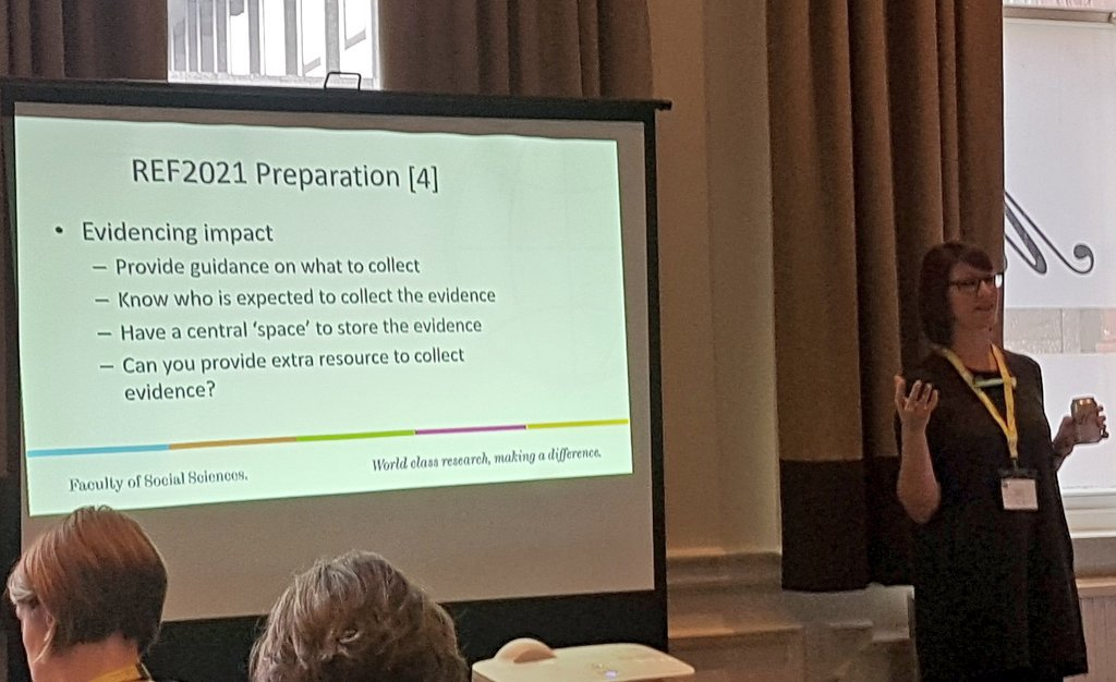 The knotty issue of collecting #REF2021 impact evidence &amp; whose job it is. @ElizaG on recruiting/training students for the task. #ARMAImpact<br>http://pic.twitter.com/YLkajtC7Eg
