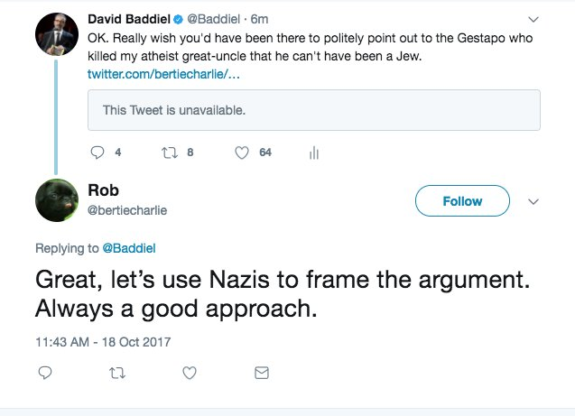 Yeah, let's bring the Nazis in when we're talking about anti-Semitism! Fuck! Worst example of Godwin's Law EVER! https://t.co/ce1GzaPWta