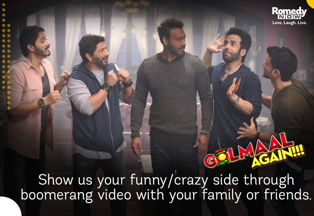 Let's have some fun time &amp; see how #Crazy your #Golmaal family is with a boomerang video. #GolmaalAgainOnRN @RelianceEnt @GolmaalMovie<br>http://pic.twitter.com/4JH07UDAyH