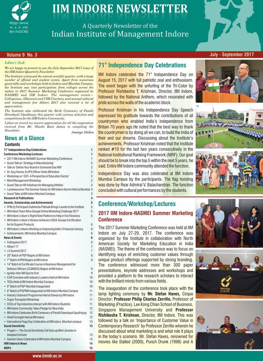 Presenting the Quarterly Newsletter: July-September 2017! Download:  http://www. iimidr.ac.in/quarterly-news letter/ &nbsp; …  #Publications #Newsletter<br>http://pic.twitter.com/wJ4lYzpsV9