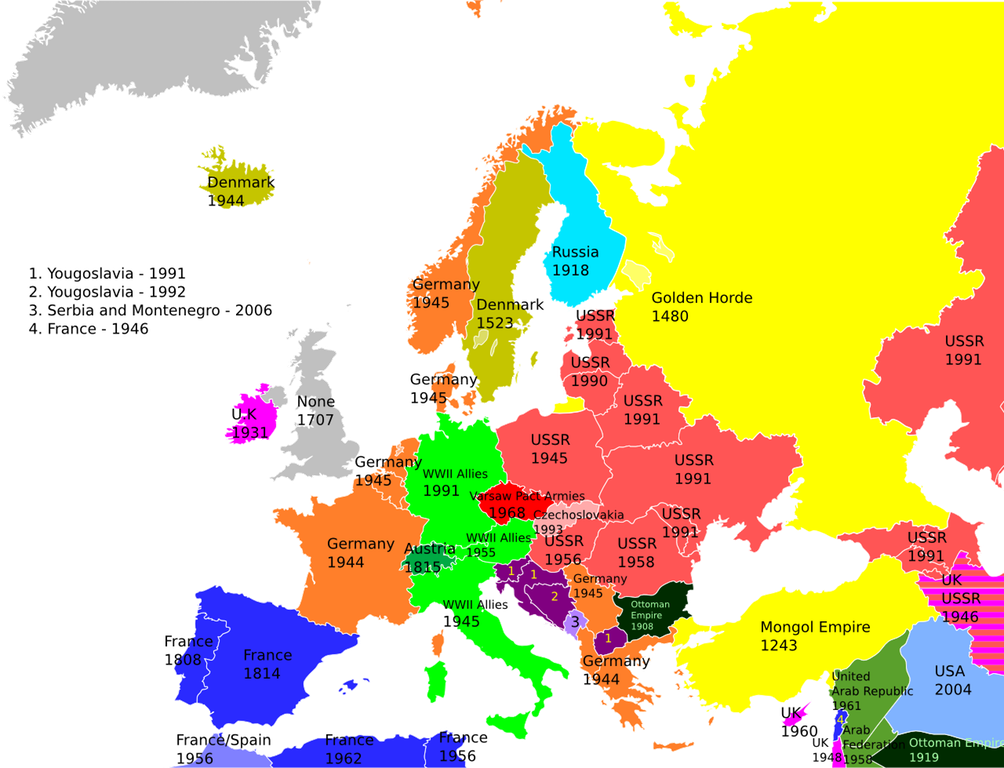 Dear European country, when was the last time you were occupied by a foreign power? Source of #map:  https:// buff.ly/2wWJmqq  &nbsp;   <br>http://pic.twitter.com/GPpmIaCE2C