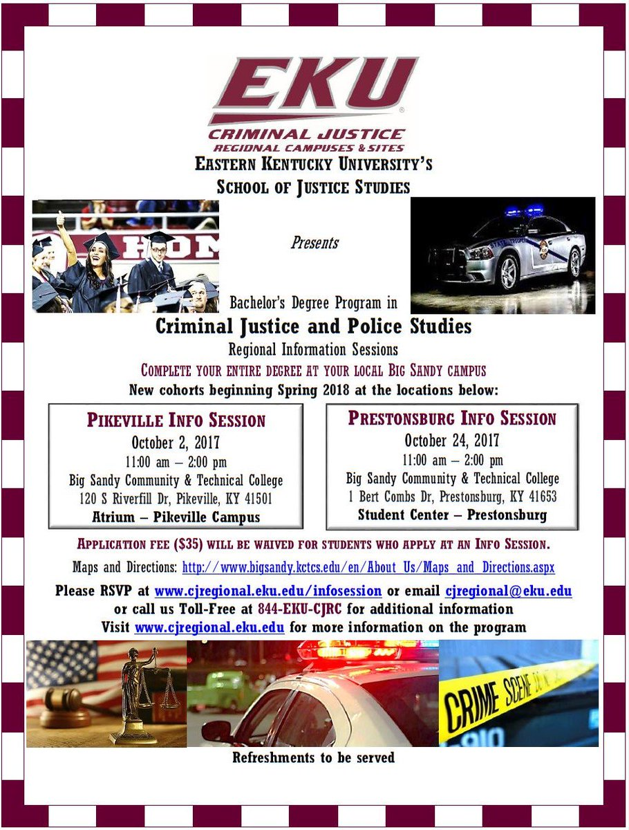 Next up is #Prestonsburg, join us on 10/24 for refreshments, #EKU #CJ program info &amp; free application for #spring18 see flier for more.<br>http://pic.twitter.com/qdnJYk8vNc