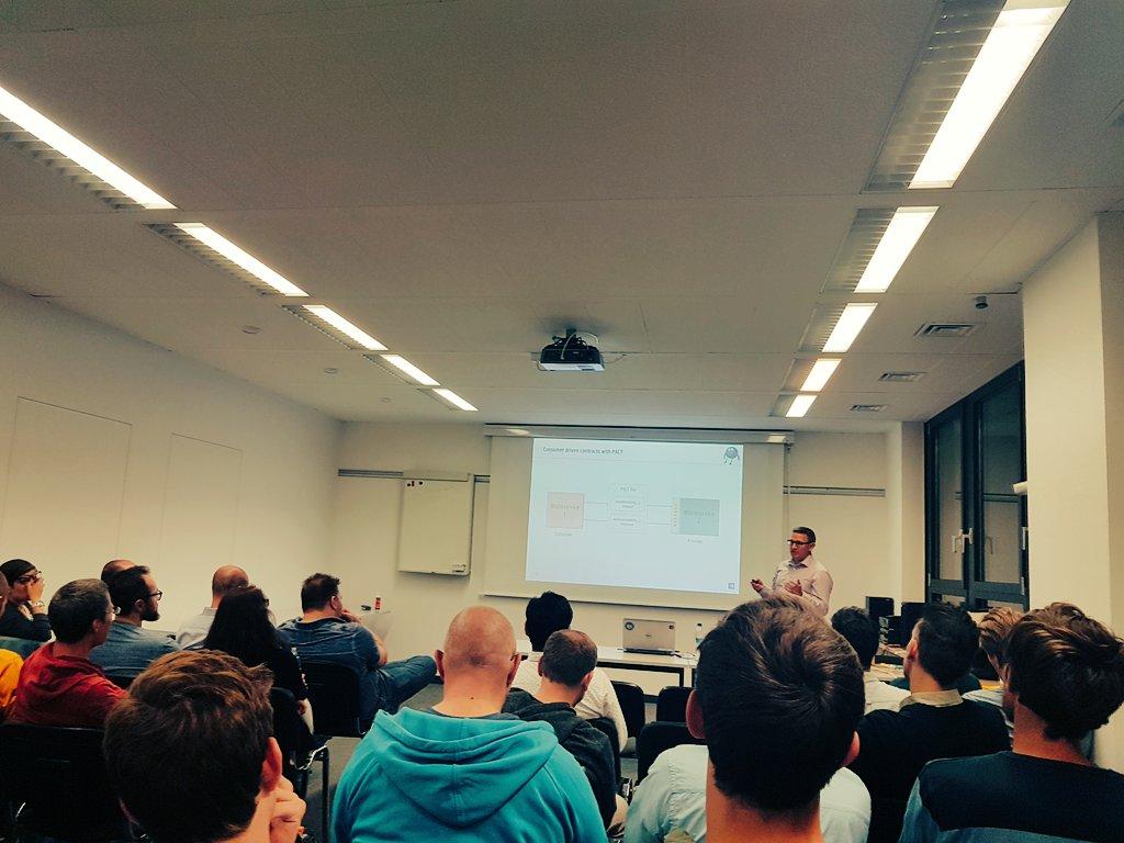Next talk: #PACT #ConsumerDrivenContract #Testing Framework by Sebastian  #agileTestingMeetup @consol_de<br>http://pic.twitter.com/fOyWzceFFz
