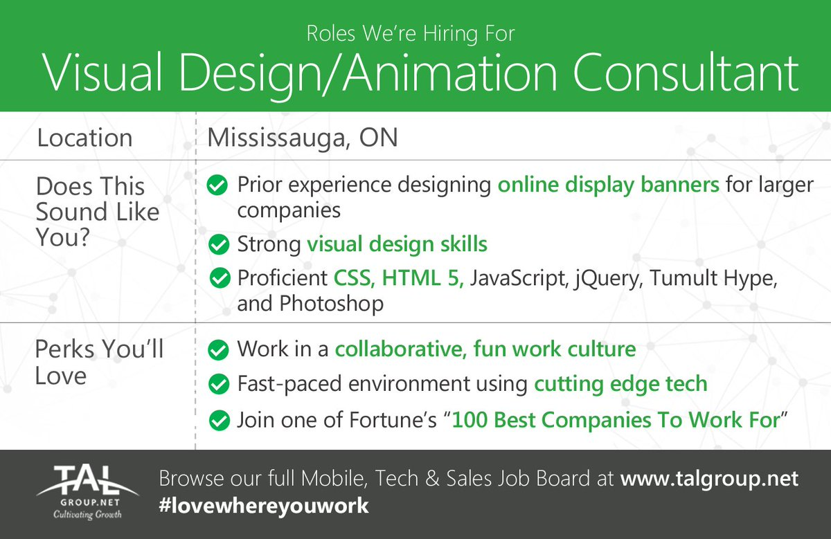 #Hiring a Visual Design/Animation Consultant in Mississauga! #Fortune100 w/ great culture &amp; projects  http:// bit.ly/2zk9EUl  &nbsp;   #<br>http://pic.twitter.com/f2PZg2v83b
