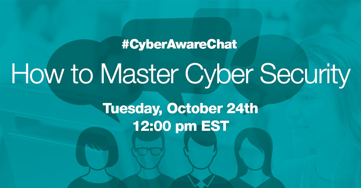 What do you see as the biggest #cybersecurity threats at the moment? Join the #CyberAwareChat on October 24th!  http:// bit.ly/cyberawarechat 2017 &nbsp; … <br>http://pic.twitter.com/kM3mseJ0WM