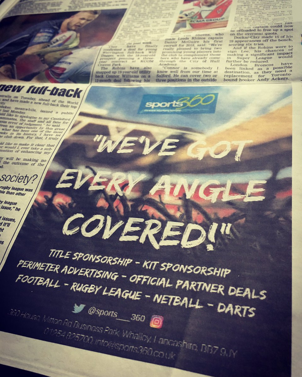 Love seeing our #Advert in various publicationsThis 1&#39;s in @LeagueWeekly, The number 1 read in #RugbyLeague #SportsAdvertising #SportsBiz<br>http://pic.twitter.com/EqePfDOros