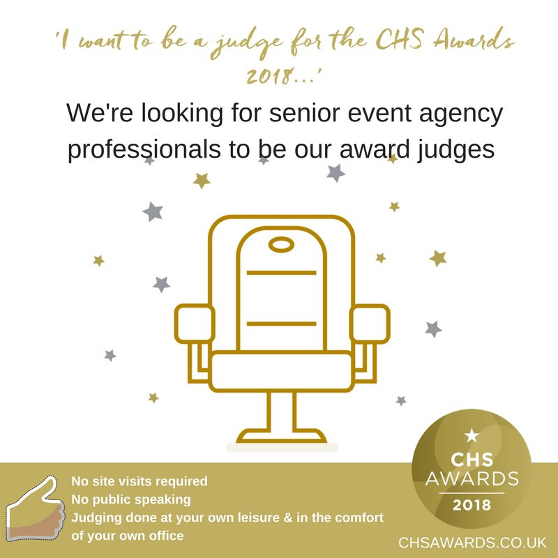 Are you a senior #Eventprof? Do you have a little spare time to be a #CHSAwards judge? Visit  http:// bit.ly/2y2RK9j  &nbsp;   for further details<br>http://pic.twitter.com/QLNsDYXz34