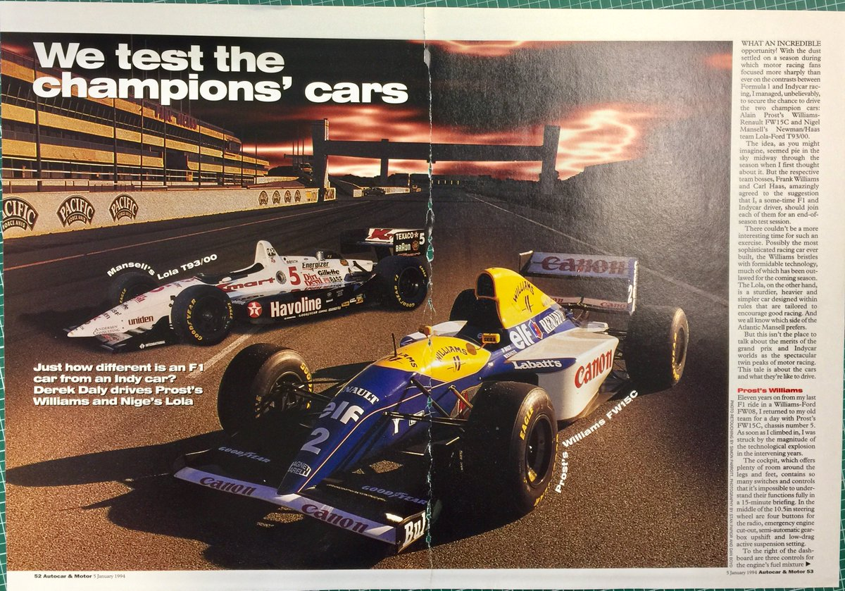 Fascinating article by Derek Daly from @autocar 5 Jan 1994: track test of Alain Prost&#39;s #WilliamsF1 FW15C and Nigel Mansell&#39;s Lola T93/00. <br>http://pic.twitter.com/kYUZBnNl07