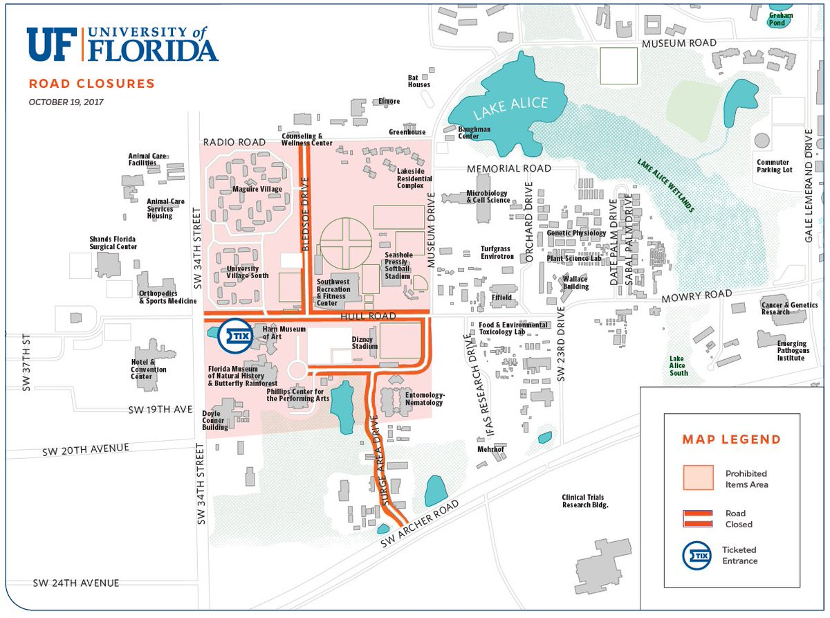 Uf Public Safety On Twitter Map Of Campus Road Closures Beginning