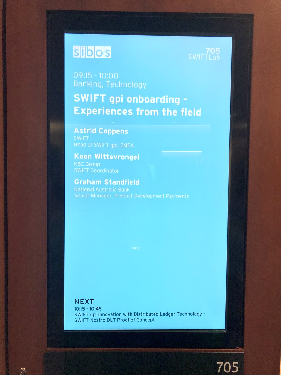 SWIFTLab fully crowded. All these banks learn to implement quick. Great news for corporate tresurers, #SWIFTgpi really taking off!