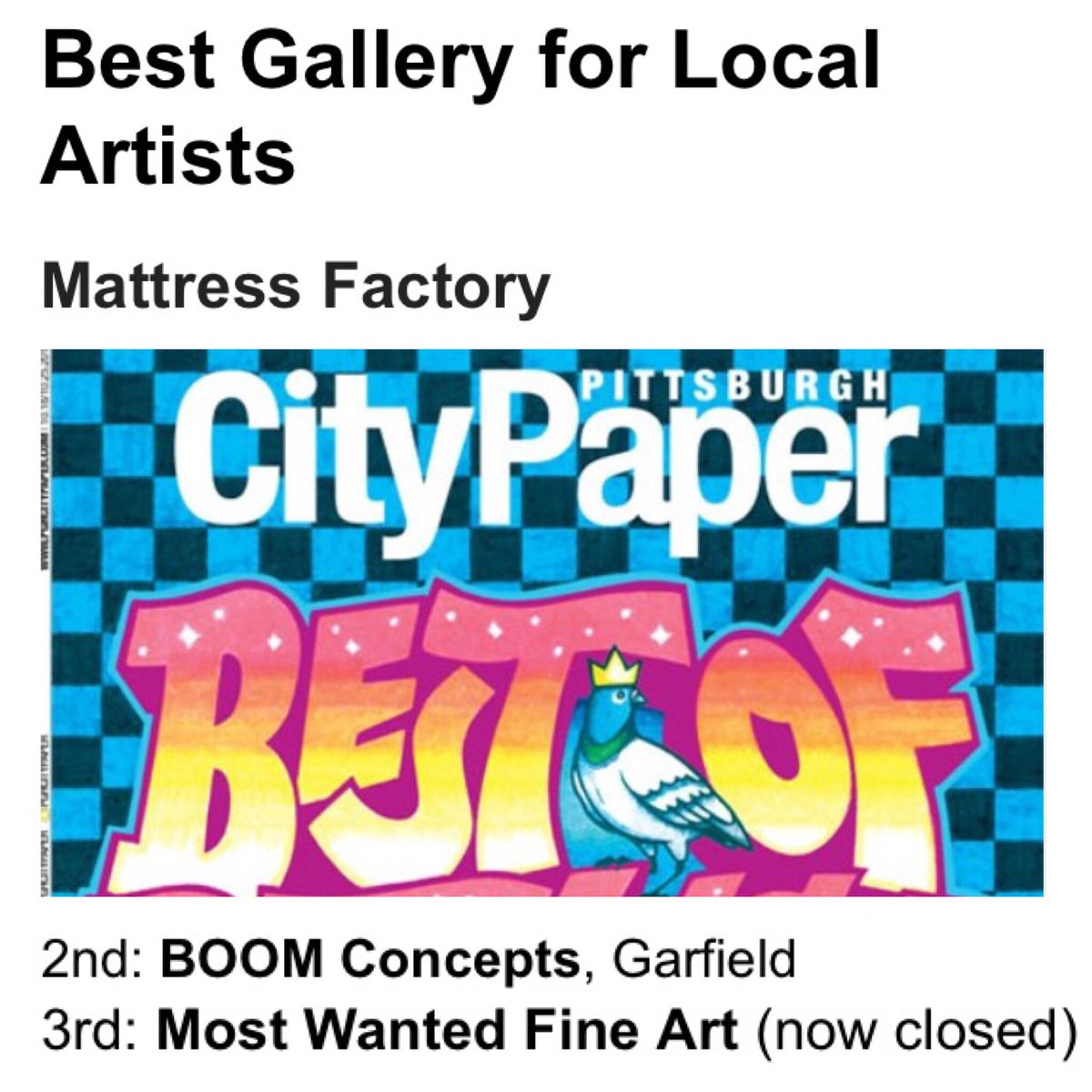 We won 2nd best gallery for local artists, voted into #BestOf @PGHCityPaper for the 2nd year in a row! Thx for all of the support. We you!<br>http://pic.twitter.com/b5lbus0mVf