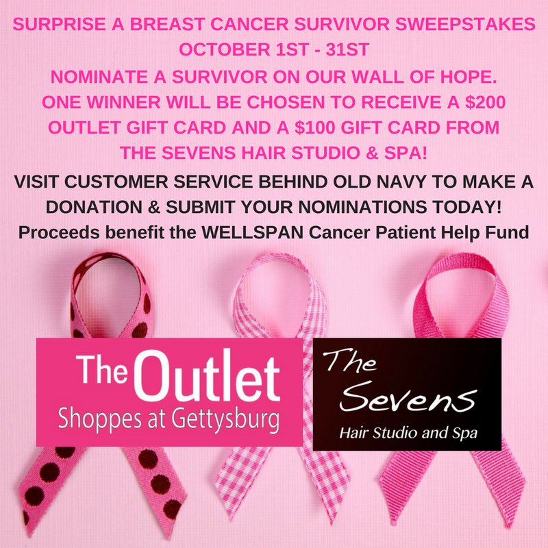 Nominate a #BreastCancerSurvivor to win! #breastcancer #cancer #wallofhope #contest #gettysburgoutlets #gettysburg #gettysburgpa #spaday<br>http://pic.twitter.com/R5WxtcMKNO
