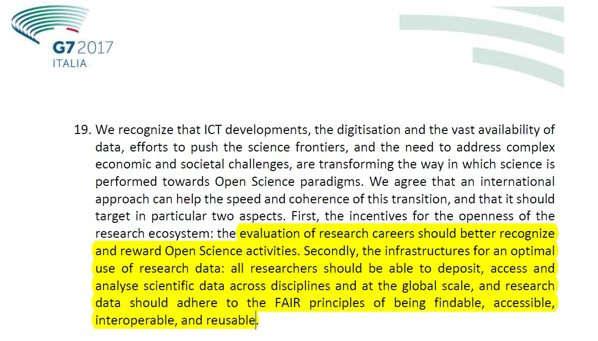.@G7 Science Ministers: &quot;evaluation of rsrch careers should reward #OpenScience activities&quot; #FAIR #REF2021 #EU_RITO  http://www. g7italy.it/sites/default/ files/documents/G7%20Science%20Communiqu%C3%A9_1.pdf &nbsp; … <br>http://pic.twitter.com/2uqf7DgXbs