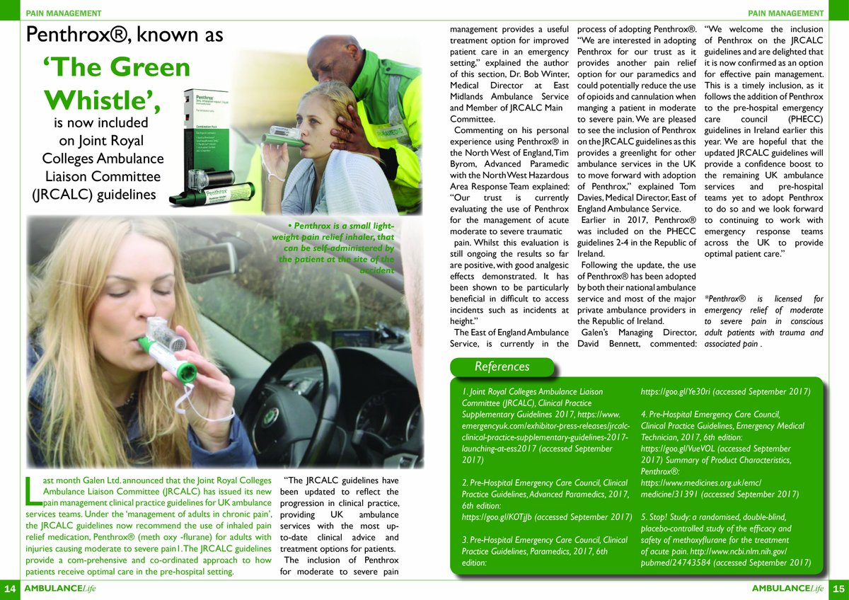 #Painmanagement - read about Penthrox®, known as &#39;The Green Whistle&#39; in the latest issue of @AmbLifenews<br>http://pic.twitter.com/Bn614IdGVQ