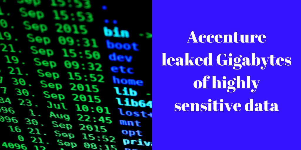 Accenture leaked Gigabytes of highly sensitive data  http:// ow.ly/6P4L30fSc8g  &nbsp;    #databreach #b2bhour<br>http://pic.twitter.com/z2lcBV0iC8