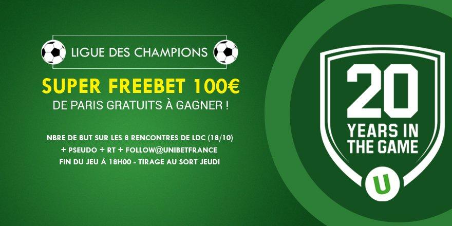 💥SUPER FREEBET💥 Pronostiquez 💪 le nbre de but(s) ⚽️ en #LdC pour gagner le 💶Super #Freebet 💶 de 100€ 😱 !    #TeamParieur