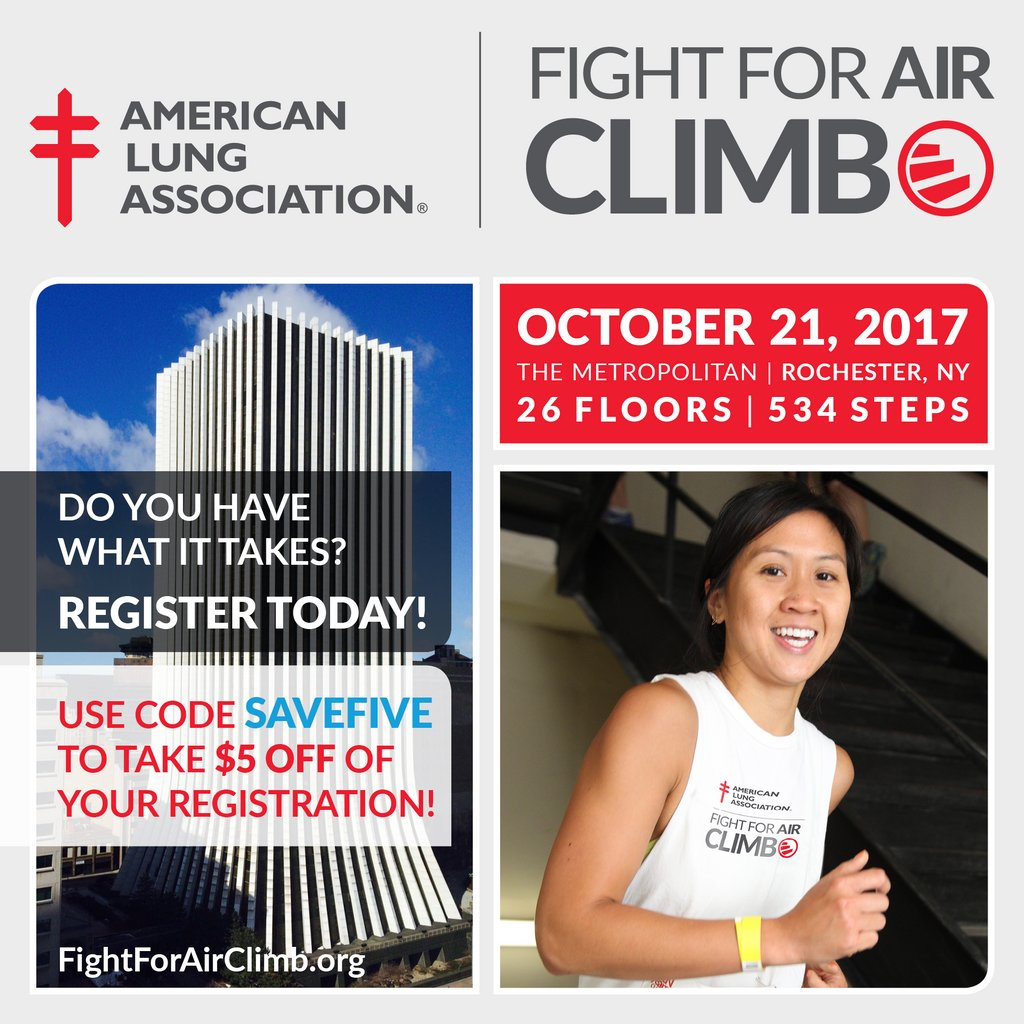Ready to join #FightForAirClimb on October 21st in #RochesterNY? Today is the last day to register, so hurry! @LungNE @LungAssociation<br>http://pic.twitter.com/TKcbP3XSdG