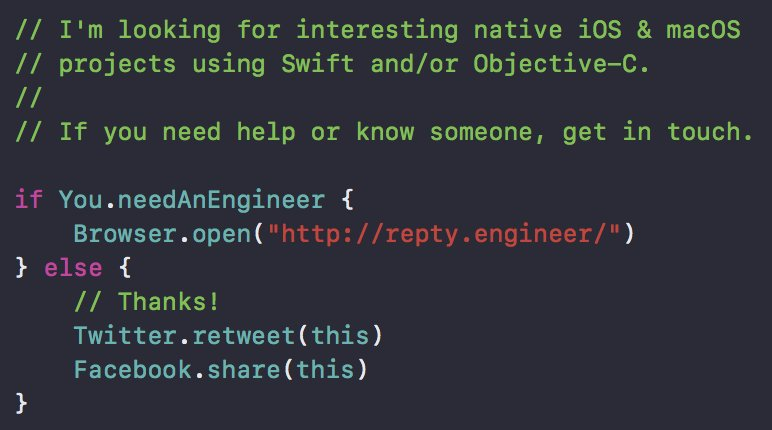 I'm looking for a new remote iOS or macOS project.  Get in touch here:  http:// repty.engineer / &nbsp;    #iOS #macOS #Swift #ObjectiveC<br>http://pic.twitter.com/NhGL4qbDR7