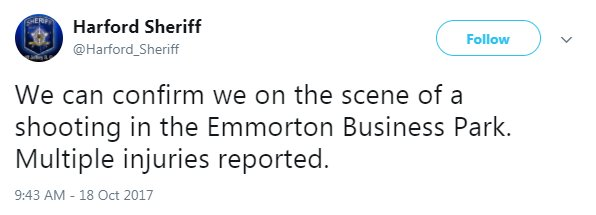 NEW: @Harford_Sheriff reports of multiple injuries from a shooting at Emmorton Business Park. More to come.