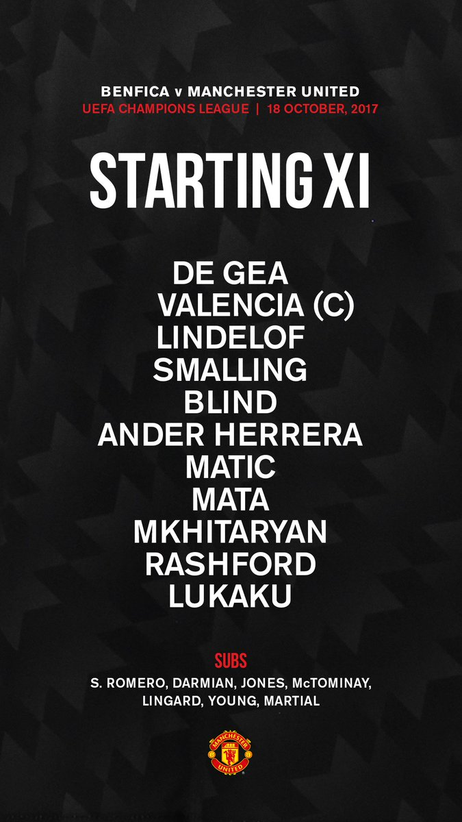 Here's the #MUFC team to face Benfica in...