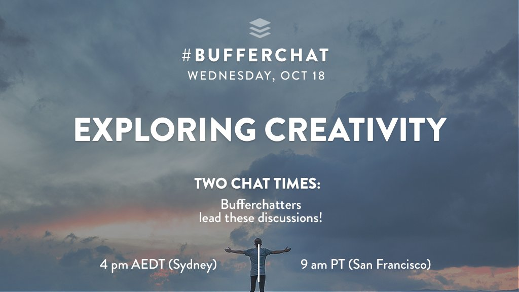 Today's #bufferchat topic is &quot;Exploring Creativity&quot;! The chat starts at 9 am PT!  <br>http://pic.twitter.com/eHeycc6rTd