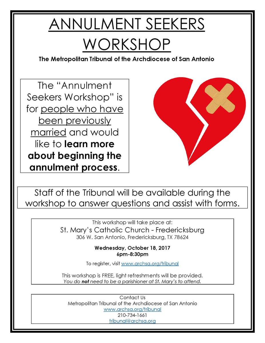 Plan to attend the Annulment Seekers Workshop at St. Mary&#39;s Catholic Church (Fredericksburg), 6 p.m. #iamTodaysCatholic #archSA #CTSA <br>http://pic.twitter.com/q7e1x6cvHM