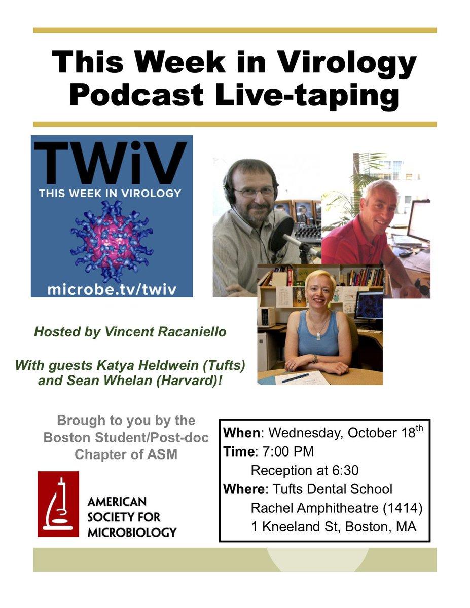 Boston #TWiV tonight Tufts University 7 PM Rachel Amphitheatre - be there! #viruses <br>http://pic.twitter.com/QdP7znaU1x