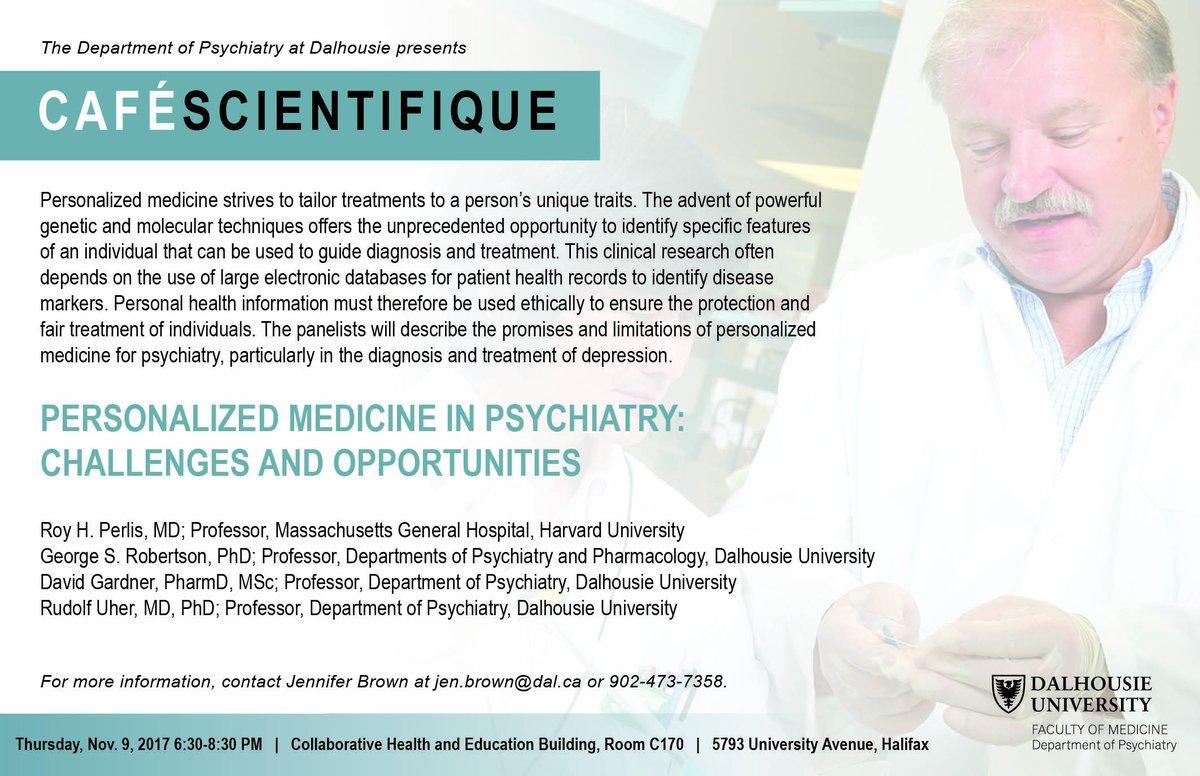 Join us on Nov. 9 at 630 for Café Scientifique! #personalizedmedicine #psychiatry #cafescientifique #dalmed<br>http://pic.twitter.com/KDN7BVvMJ7