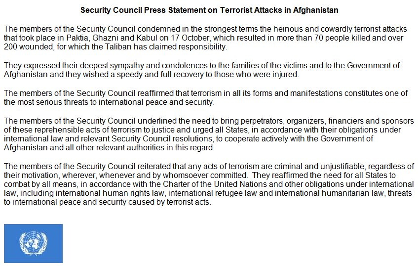 The United States joins the #UNSC in condemning yesterday's heinous & cowardly terrorist attacks in Paktia, Ghazni, & Kabul, .#Afghanistan