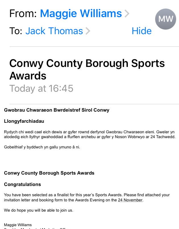So this just arrived in my inbox! Feeling very proud! #conwyawards #finalist #sportsman <br>http://pic.twitter.com/vBQsqUROVH
