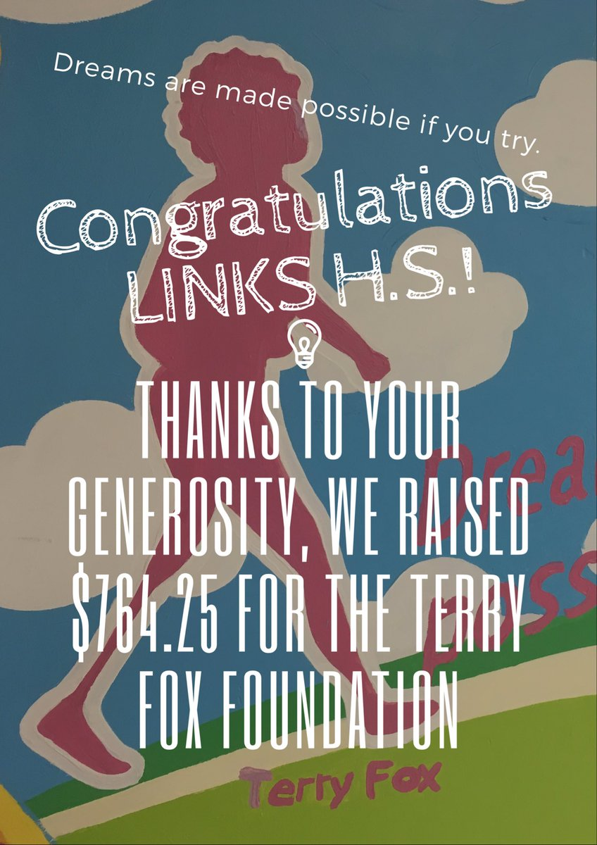 Way to go @links_hs! We raised $764.25 for the @TerryFoxCanada #giving <br>http://pic.twitter.com/JyelAesQPn